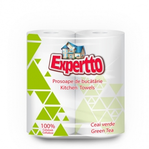 EXPERTTO KITCHEN TOWELS, 2 ROLLS, GREEN TEA