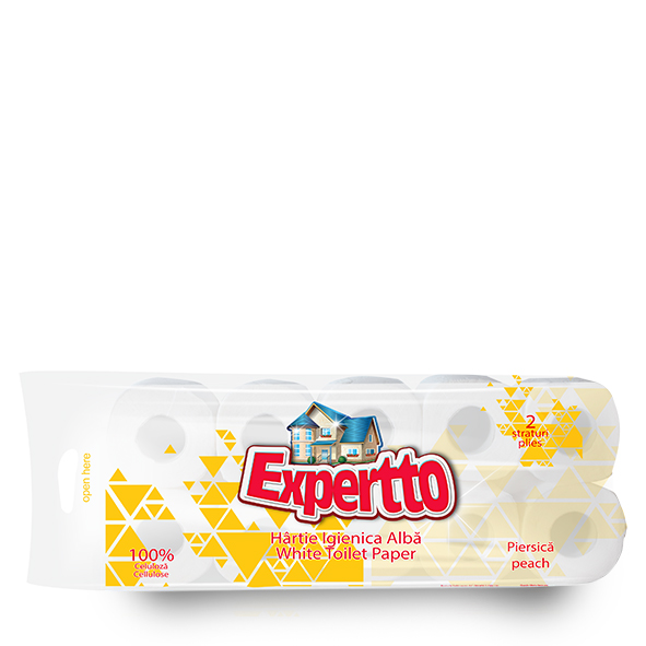EXPERTTO TOILET PAPER, 2 PILES, 10 ROLLS, PEACH