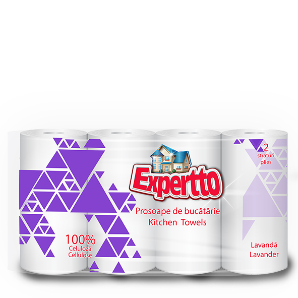 EXPERTTO KITCHEN TOWELS, 4 ROLLS, LAVANDER