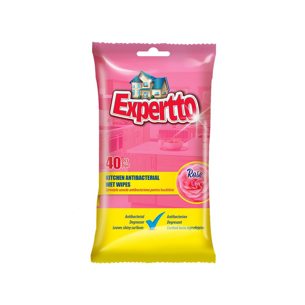 EXPERTTO Servetele Umede Antibacteriene pentru Bucatarie